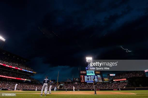 Lightning strikes near the stadium in a general view from the photo well during a regular season Major League Baseball game between the Atlanta...