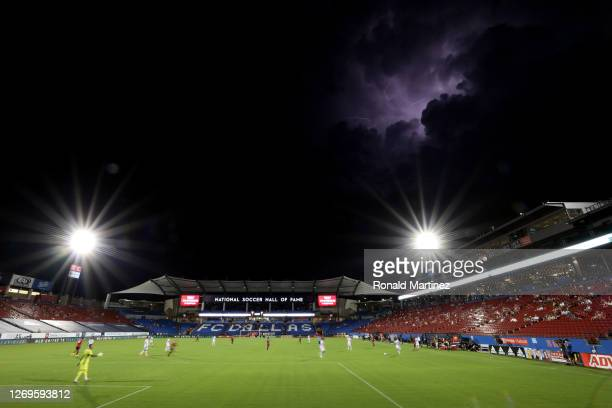Lightning strikes over a game between the Minnesota United and FC Dallas during the first half at Toyota Stadium on August 29, 2020 in Frisco, Texas.