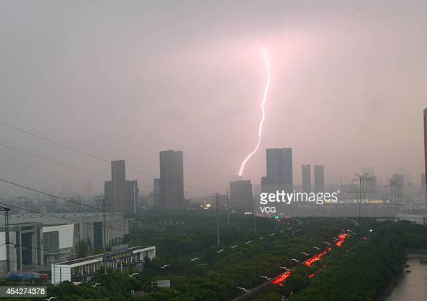 Lightning strikes over sky on August 27 2014 in Ningbo Zhejiang province of China A rainstorm hit Ningbo on Wednesday