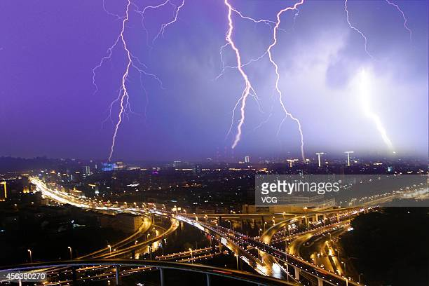 Lightning strikes over sky on September 28 2014 in Nanjing China A thunderstorm hits Nanjing on Sunday
