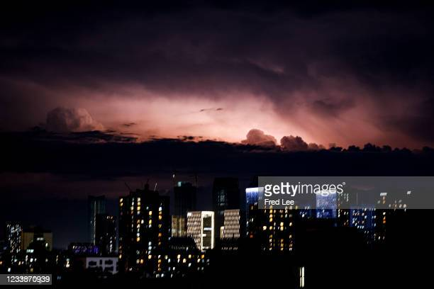 Lightning strikes over the sky on July 8, 2021 in Beijing, China.