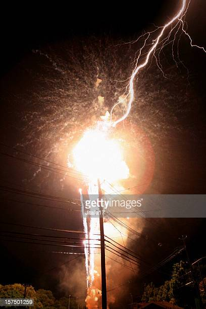 Lightning Strikes Power Transformer - Explosion