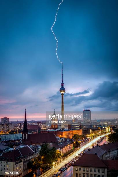 Lightning striking Berlin Television Tower, Berlin, Germany
