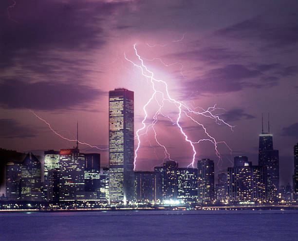 Lightning Striking Chicago Skyline Wall Art