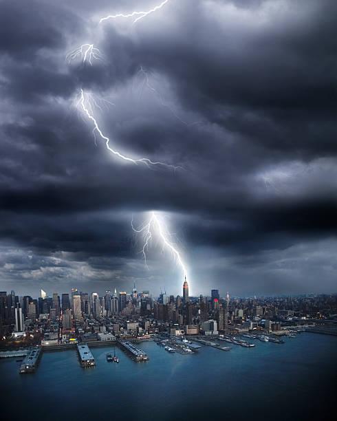 Lightning Striking Empire State Building Wall Art