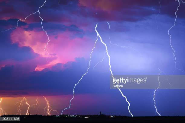 lightning, thunder and rain during summer storm - pioggia forte foto e immagini stock