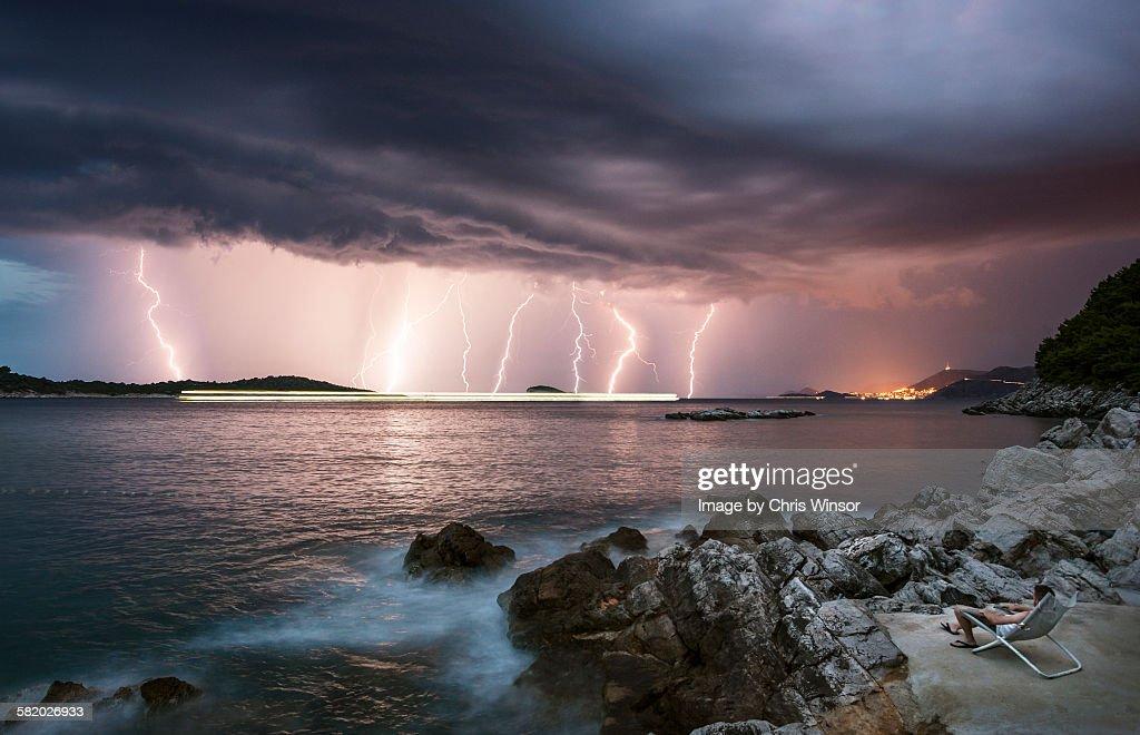 Lightning watcher : Stock Photo