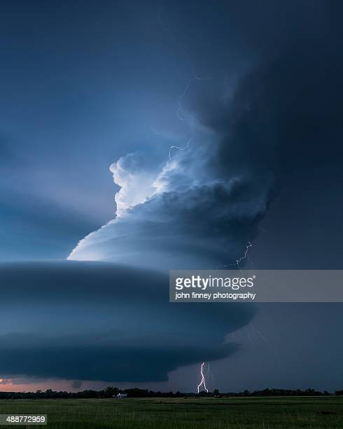 Lightning wrapped around a Mesocyclone storm cloud