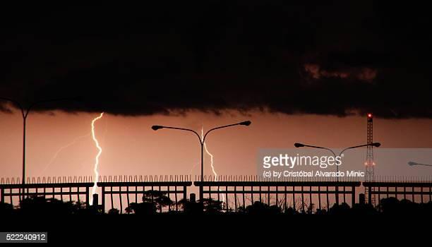 Lightnings During Sunset