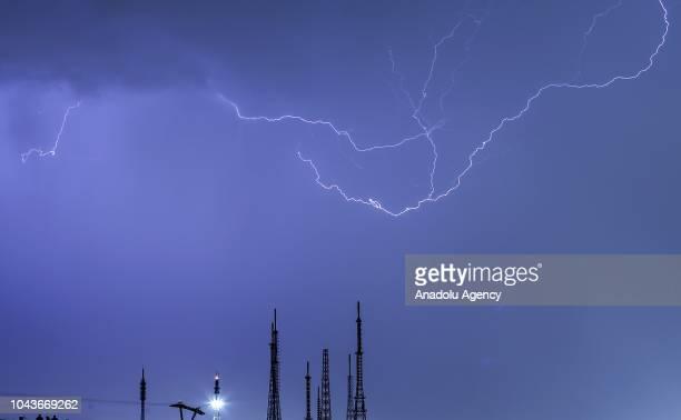 Lightnings illuminate the night sky over Turkish capital Ankara on September 30 2018 after a rainfall