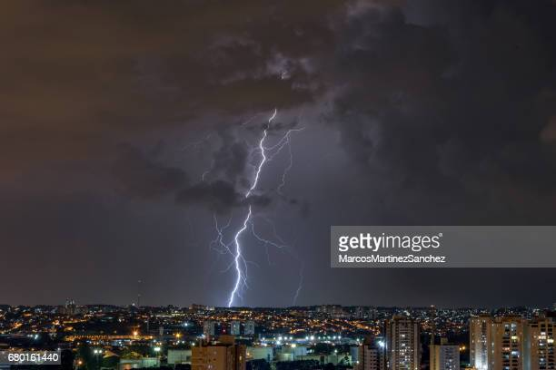 Lightnings in a stormy night in the city