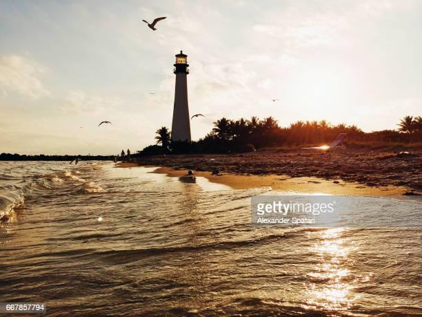 Lightouse at Key Biscayne during sunset, Florida, USA