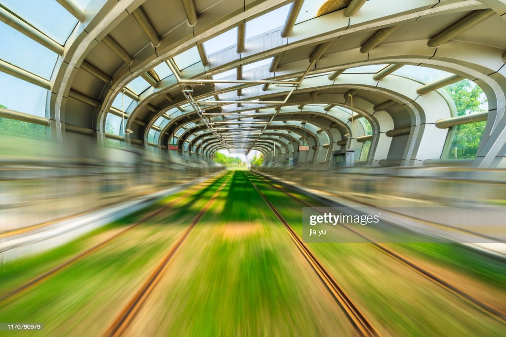 Lightrail tracks and transit station building : Stock Photo