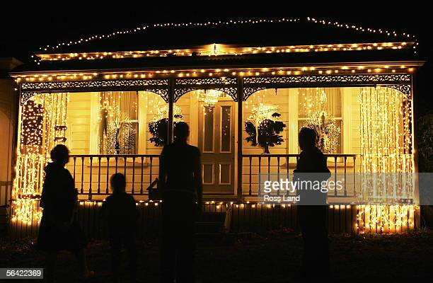 Lights adorn a house in Franklin Road on December 12 2005 in Auckland New Zealand The festive lighting trend in Franklin Road was first started...