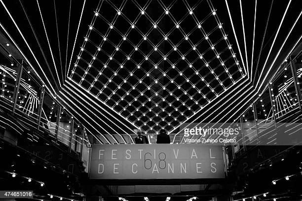 Lights are going down inside the Palais du Cinema during the 68th annual Cannes Film Festival on May 24 2015 in Cannes France