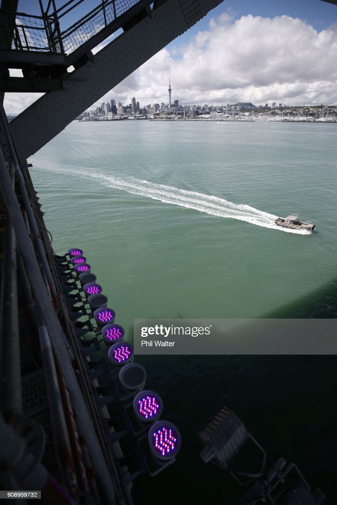 Technicians Work On Auckland Harbour Bridge Installation Ahead Of Vector Lights Launch