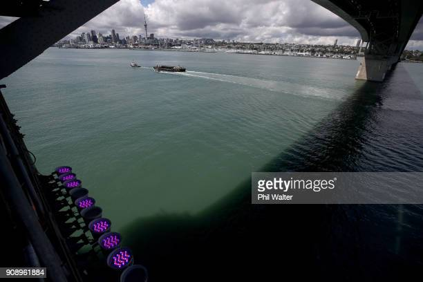 Lights are pictured that will light up the Auckland Harbour Bridge on January 23 2018 in Auckland New Zealand Launching on 27 January Vector Lights...