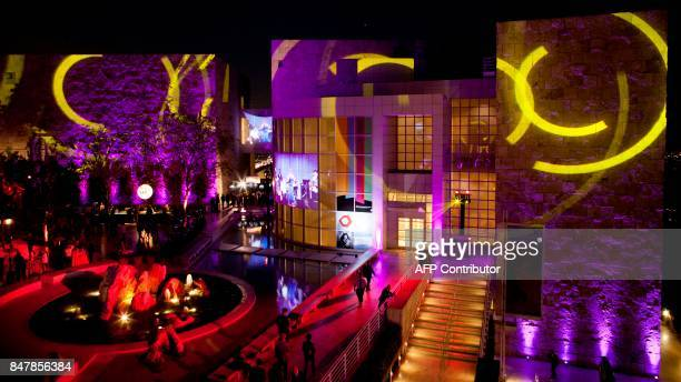 Lights are projected on the facades of the Getty Museum for the opening celebration of Pacific Standard Time: LA/LA celebration in Los Angeles on...
