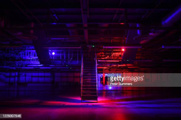 Lights are seen inside an empty warehouse at Printworks nightclub on October 27, 2020 in London, England.The 5,000-capacity music venue, Printworks,...