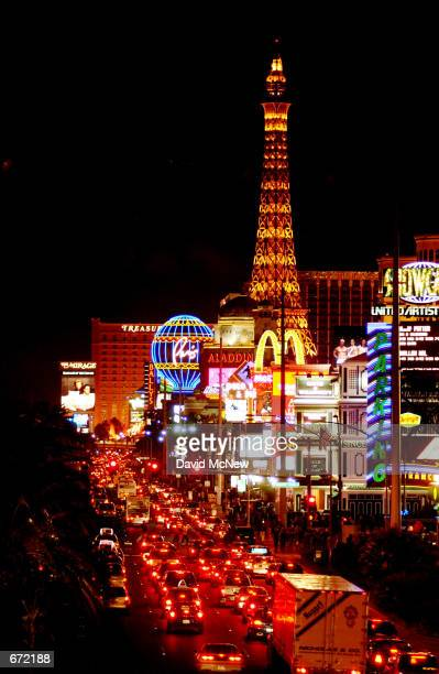 Lights compete for attention along the Las Vegas Strip, November 17 in Las Vegas, NV. Despite nationwide security increases following the terror...