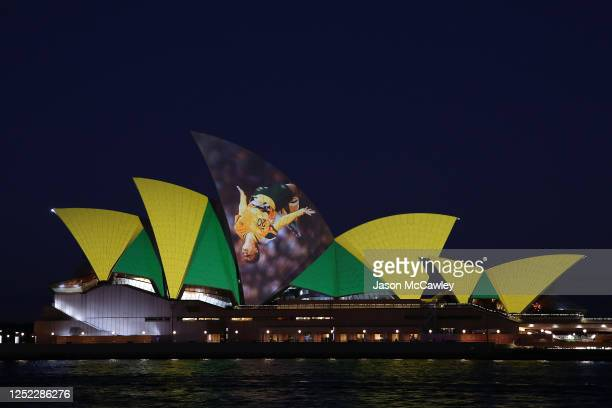 Lights displaying Sam Kerr are projected on the Sydney Opera House on June 25 2020 in Sydney Australia Australia along with New Zealand are predicted...