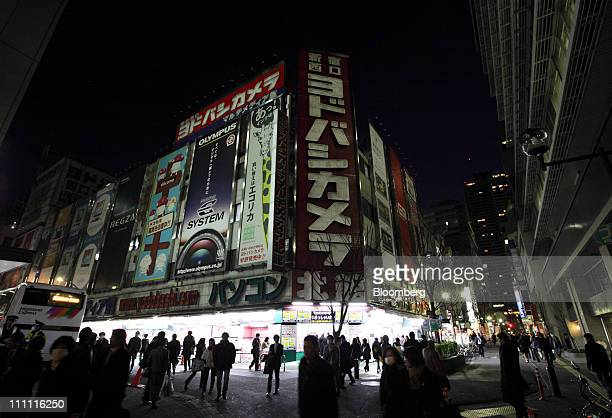 Lights for signs are turned off at an electronics store in Tokyo Japan on Monday March 28 2011 As Tokyo Electric Power Co the utility battling to...