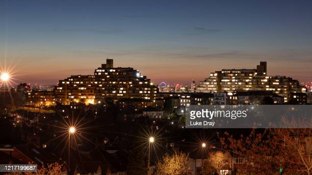 Lights from residential properties on Dawson's Hill are seen on April 04 2020 in London England People have been forced to stay at home due to social...