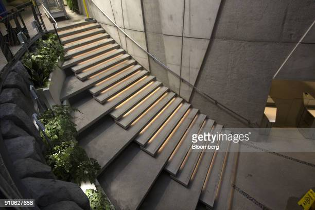 Lights illuminate a staircase inside the Amazoncom Inc Spheres in Seattle Washington US on Tuesday Jan 23 2018 The online retailer is scheduled to...