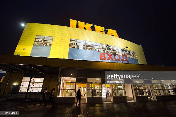 Lights illuminate an Ikea logo above the Ikea AB retail store in Khimki Russia on Monday Oct 3 2016 Ikea's Russia unit may spend 100 billion rubles...