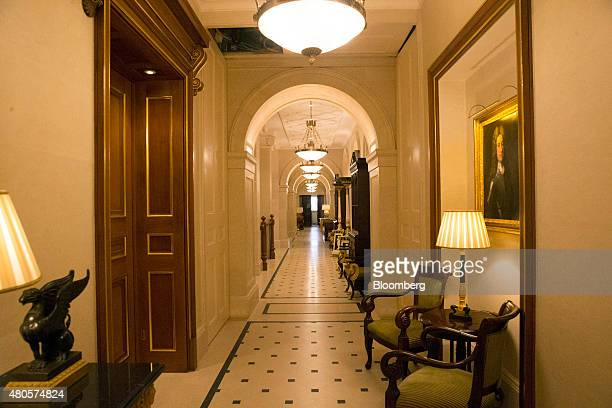 Lights illuminate corridor inside the Lanesborough luxury 5star hotel operated by the Oetker Group in London UK on Friday July 10 2015 London is the...