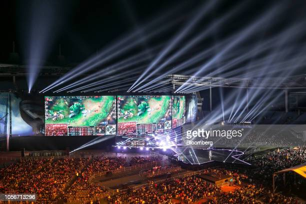 Lights illuminate the arena during the League of Legends World Championship Finals hosted by Riot Games Inc in Incheon South Korea on Saturday Nov 3...