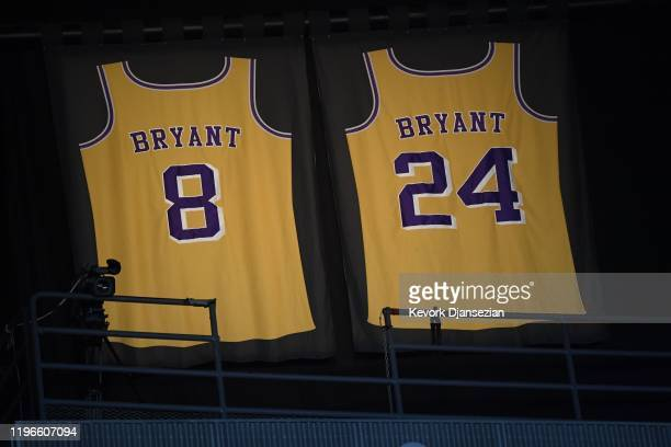 Lights illuminate the jerseys in tribute of former Los Angeles Laker shooting guard, NBA star, Kobe Bryant during the 62nd Annual Grammy Awards on...