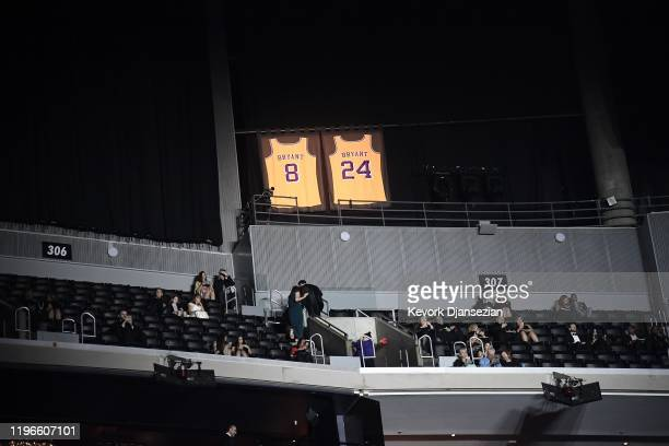 Lights illuminate the jerseys in tribute of former Los Angeles Laker shooting guard NBA star Kobe Bryant during the 62nd Annual Grammy Awards on...