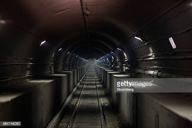 Lights illuminate the north tube of the North River Tunnel under the Hudson River between New Jersey and New York US on early Friday morning Aug 21...