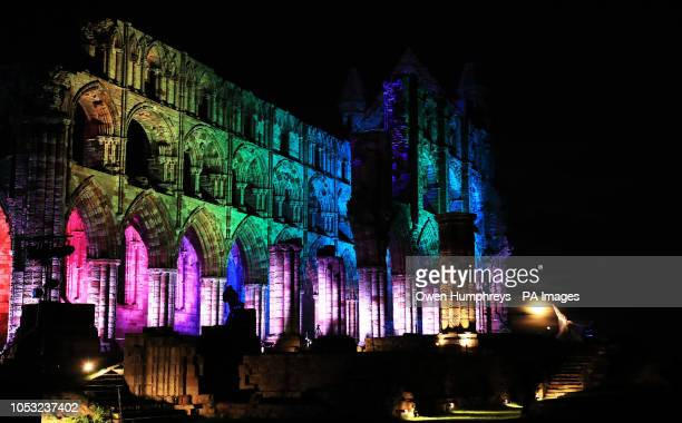 Lights illuminate the ruins of Whitby Abbey in North Yorkshire for Illuminated Abbey which runs over the Halloween half term