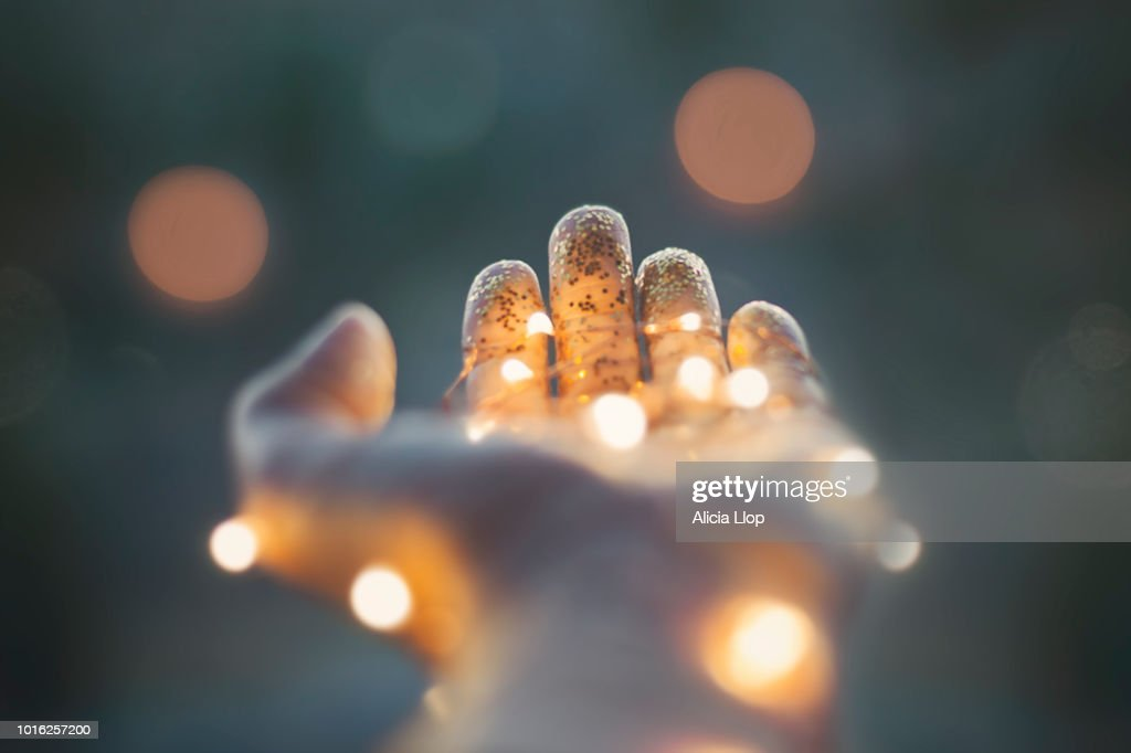 Lights in hand : Stock Photo
