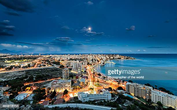 lights in the city - valencia stock photos and pictures