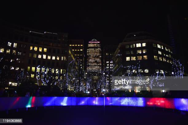 Lights installation are seen in the financial district of Canary Wharf as part of the Winter Lights festival London on January 16 2020 The sculptures...