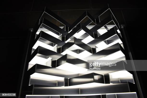 Lights installation are seen in the financial district of Canary Wharf as part of the WInter Lights festival London on January 21 2018 The sculptures...