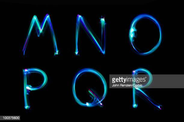 lights making letters - font photos et images de collection