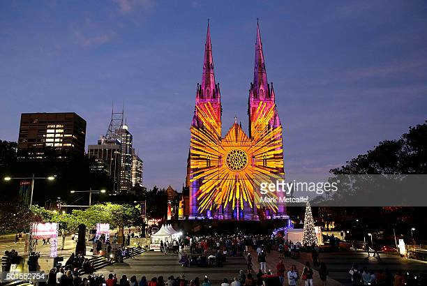 Lights of Christmas projections are seen at St Mary's Cathedral on December 16 2015 in Sydney Australia
