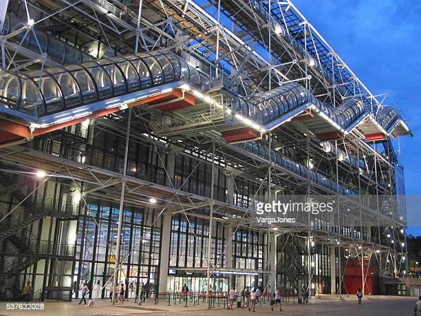 lights on at the centre pompidou - centre georges pompidou stock pictures, royalty-free photos & images