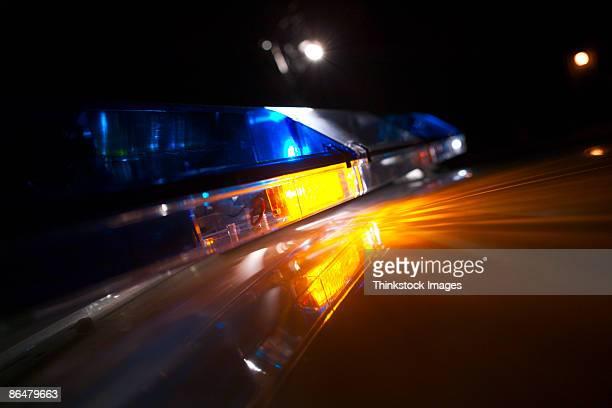 Lights on police car