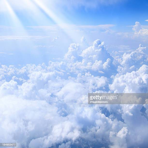 lights over clouds - heaven stock pictures, royalty-free photos & images