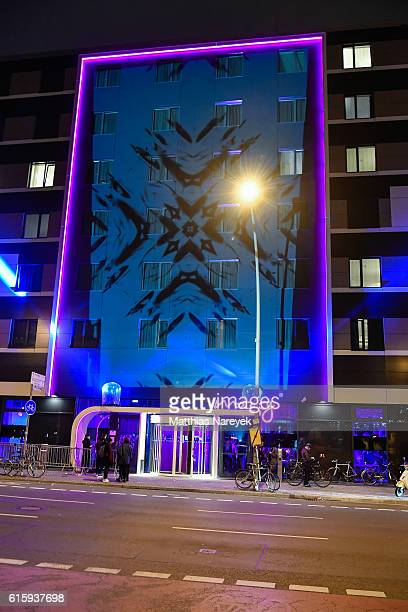 Lights projection on the facade the Moxy Hotel at the Moxy Berlin Hotel Opening Party on October 20, 2016 in Berlin, Germany.