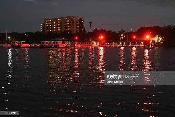 Lights shine from a marina at the US Naval Station at Guantanamo Bay which holds the US prison known as Gitmo on October 23 2016 in Guantanamo Bay...