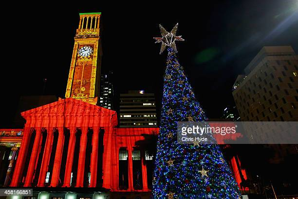 lights shine on a 20m solarpowered christmas tree in king georges square on december 20 2013 - Solar Christmas Decorations Australia