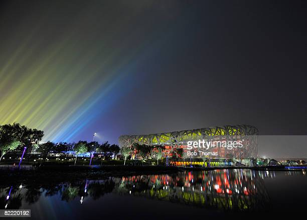 Lights shine over the National Stadium during the Opening Ceremony for the Beijing 2008 Olympic Games at the National Stadium on August 8, 2008 in...