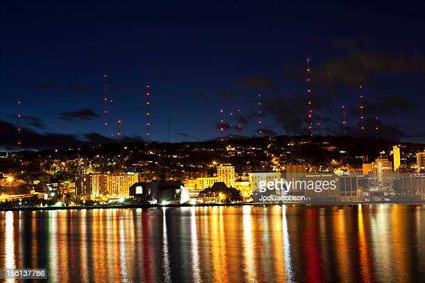 lights shining over duluth, minnesota - duluth minnesota stock pictures, royalty-free photos & images