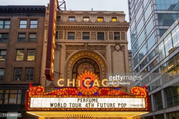 lights sign exterior of the chicago theater - chicago theater stock pictures, royalty-free photos & images